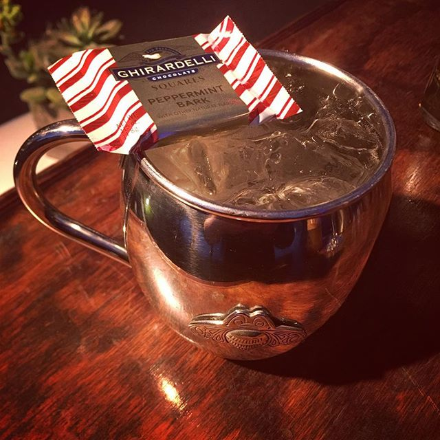 """Sleigh Ride"" Paul Mitchell Holiday Party #mint #citricacid #syrup #gingerbeer @patron #tequila #ghirardelli #peppermint #bark #chocolate  #mug #mule #paulmitchell #paulmitchellus @stayingoldcocktails #craftcocktails"