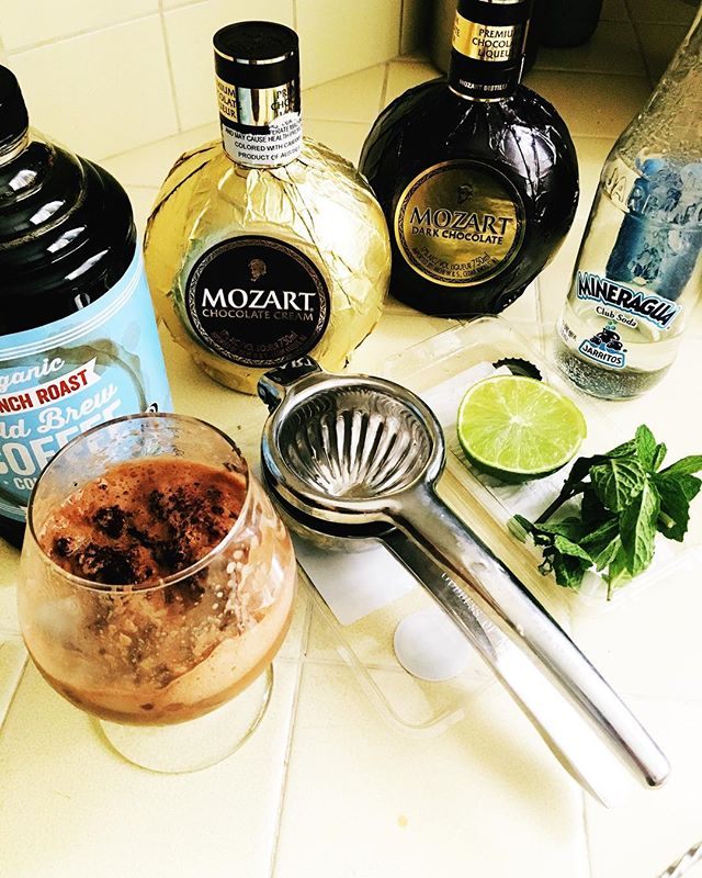 R&D for an upcoming event. Stay tuned! @mozartchocolateliqueur #craftcocktails #rnd #chocolate #liquor #stayingoldcocktails #freshingredients
