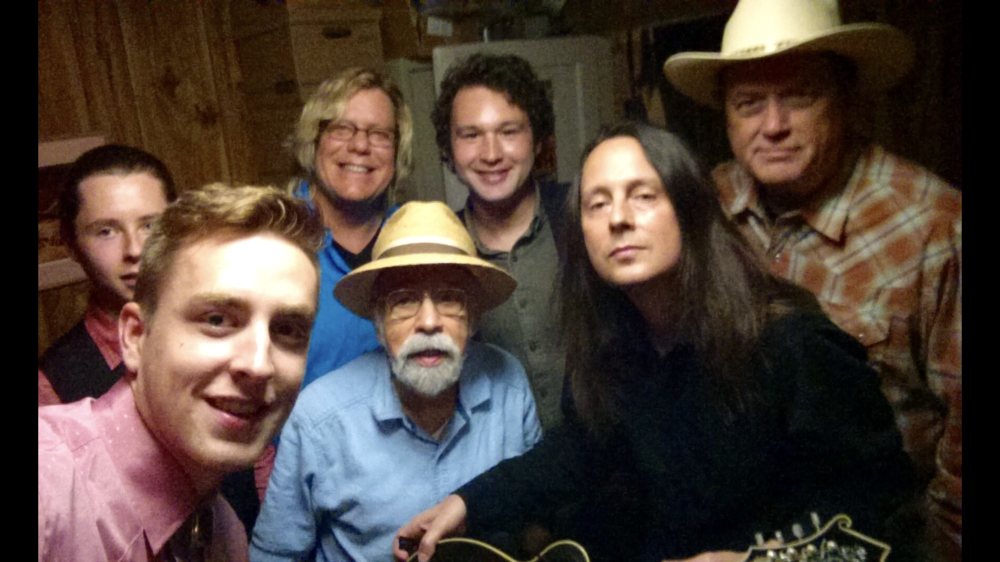 backstage at the Station Inn Tennessee Moon Debut gig (L-R Kelsey Crews, Theo MacMillon, Ray, Roland White, Michael Testagrossa, Kyle Wood and Pat Flynn