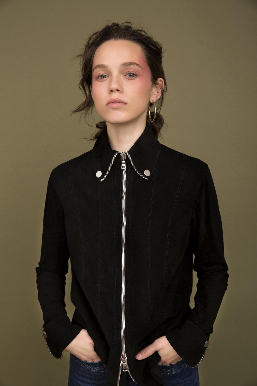 black suede shirt