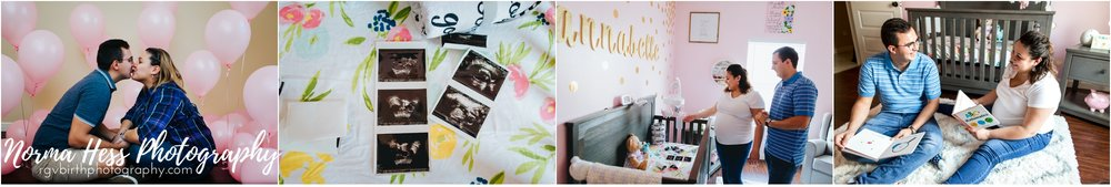 Beautiful in-home gender reveal and maternity photos by Norma Hess Photography. McAllen, Texas | 956.369.5777 | rgvbirthphotography.com