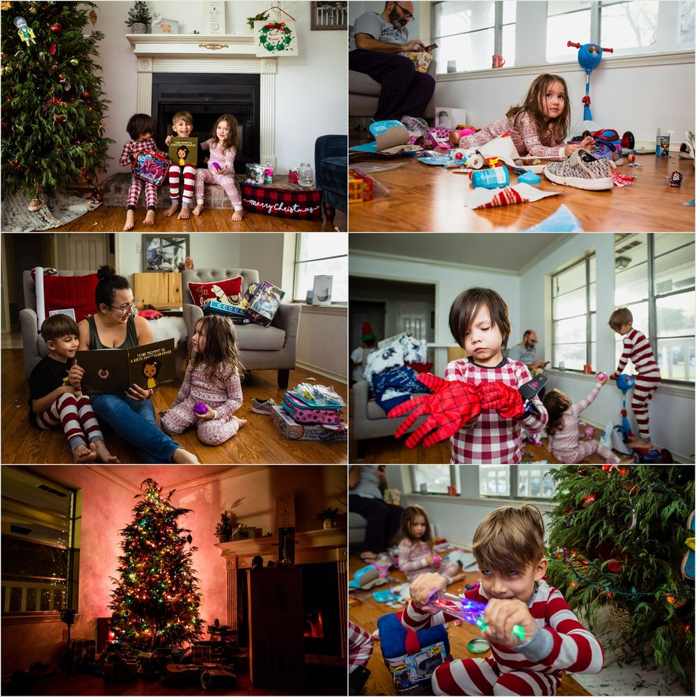 Christmas morning at Casa Hess. Photos by: Norma Hess Photography McAllen Documentary Photographer. Candid Family Photos.