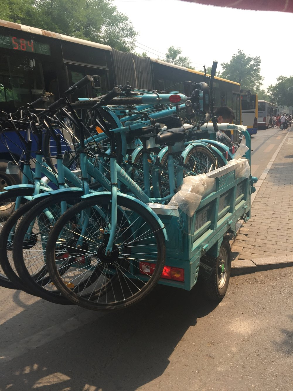 More bikes that are a part of the bike sharing initiative in Beijing.