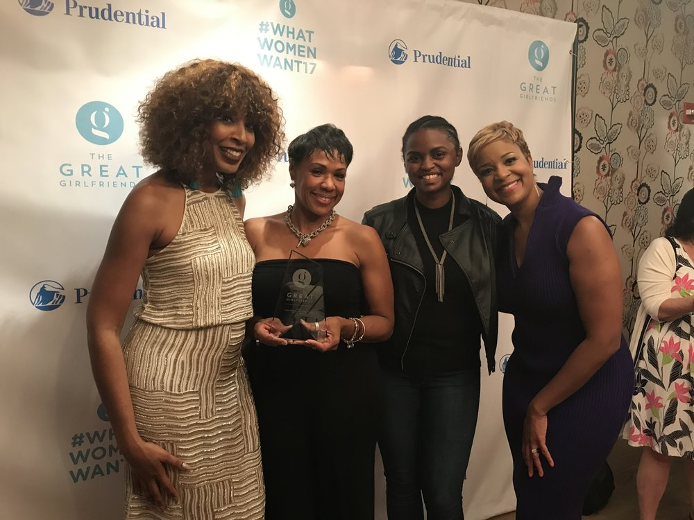 Sybil Amuti, Sheri Riley, Shavonne, and Brandice Daniel during the opening social hour for What Women Want 2017. Riley was honored as the Great Girlfriend of the Year. (Crosby Street Hotel NYC, 6.15.17)