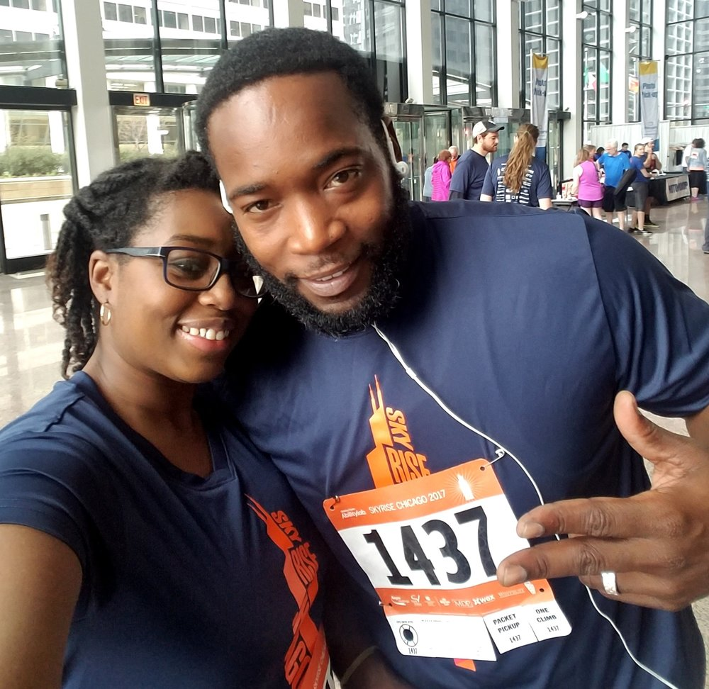 TheLadyNPumps - TheLadyNPumps is a Chicago-based blogger finding penspiration in everyday living. Pictured here with hubby during the Skyrise Chicago 2017 on November 5th.
