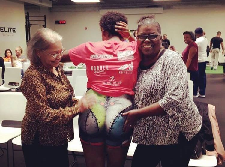 VK Press was named after Shavonne's grandmother and mother (pictured here at Shavonne's weightlifting competition in October 2016.)