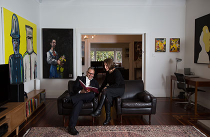 Max and Gabby Germanos, photographed for Art Collector issue 70, October - December 2014. Portrait by Nikki Short.