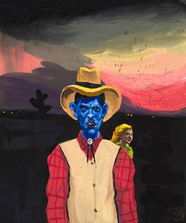 Mclean Edwards' Blue Cowboy, 2010 oil on canvas 183 x 153cm.