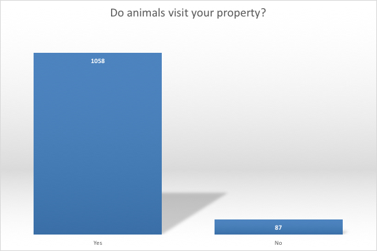 1058 out of 1145 people report that animals visit their yards.