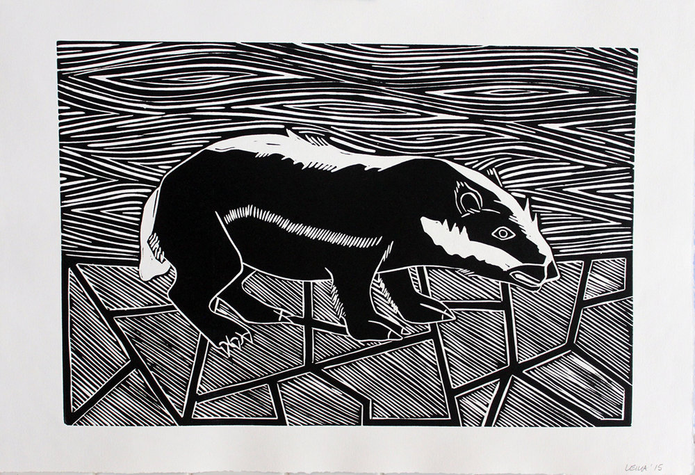Badger linocut by Leila Armstrong.