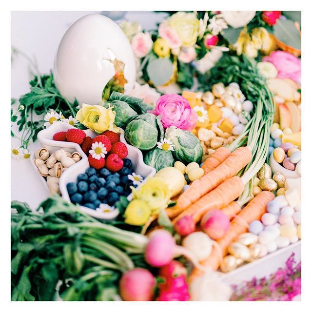 "We used our ""Bunnies who Brunch"" party as the perfect excuse to create a deliciously healthy graze board that would impress Flopsy, Mopsy, Cottontail and even Peter Rabbit himself! 🐰🐰🐰 • • • • #easterparty #easterdecor #easterbrunch #easteregghunt #eastertable #easter #grazeboard #easterfood #easterentertaining"