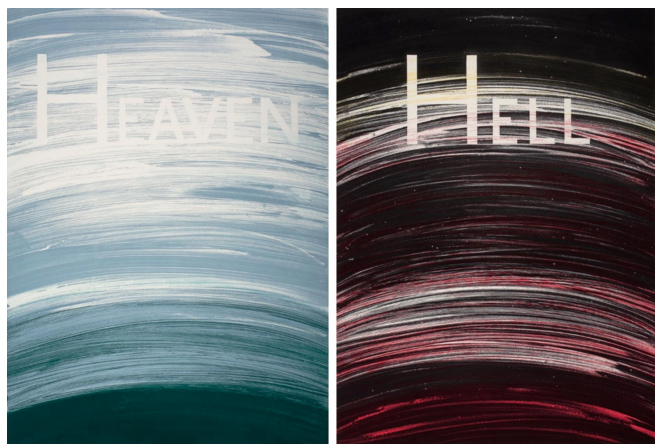Ed Ruscha:  Heaven & Hell,  1988. Soap ground aquatint. Published by Crown Point Press. Printed by Renée Bott.