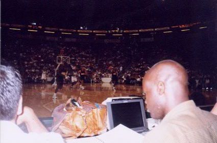 Glancing at my notes while covering the Sonics-Knicks game at MSG in late 1997.