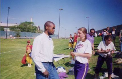 While working for the New York Daily News during the mid-1990s, I covered high-school sports for one year. Here I am interviewing a star softball player.