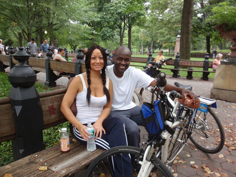 After biking through Central Park, Alexa and I decide to take a break.