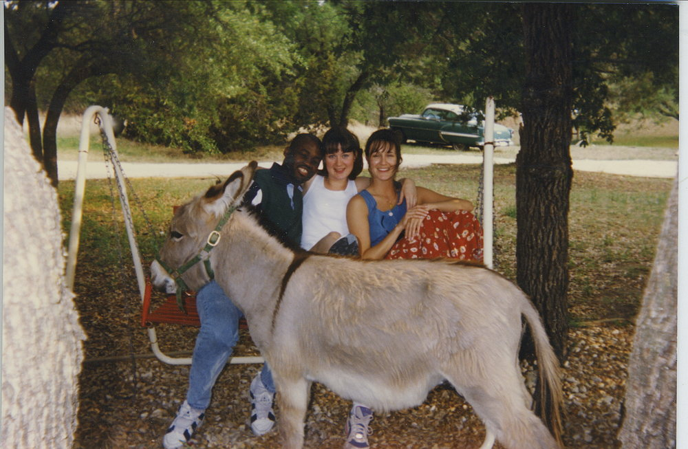 During the early 1990s, I was in a long-distance relationship with a young woman (center) who lived in Austin, Texas. She took me to see her sister's family -- and their goat. I'm glad I got back alive!