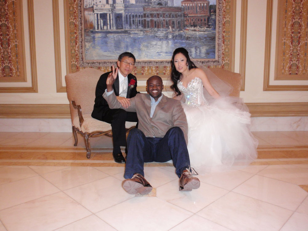 After the vows at Vegas's Bellagio Hotel on November 21, 2009, I steal a moment with the newlyweds, Doug and Roxie Lo.