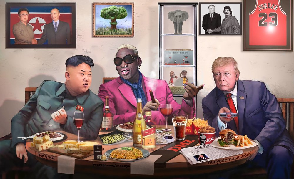 The Secret Meeting? Could Donald Trump, Kim Jong-un and Dennis Rodman have held a clandestine summit before the Summit? 🙃🙄🤫  NUNYO & COMPANY digs deep into that far-fetched scenario.