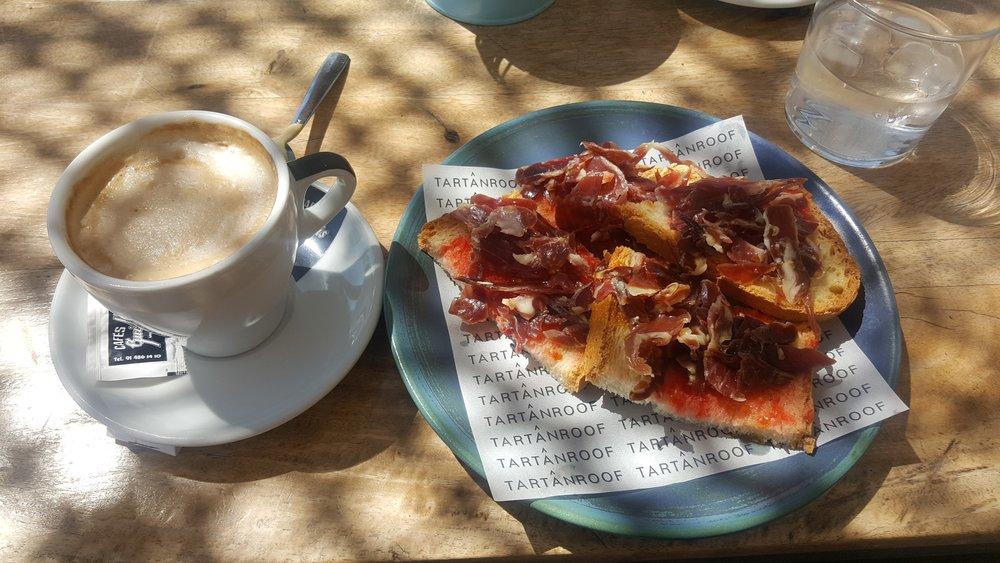 Un café con leche and a tostada with jamón makes me SO HAPPY