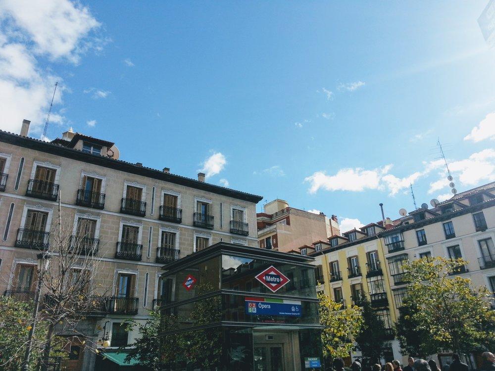 Admiring the beautiful balconies around Madrid