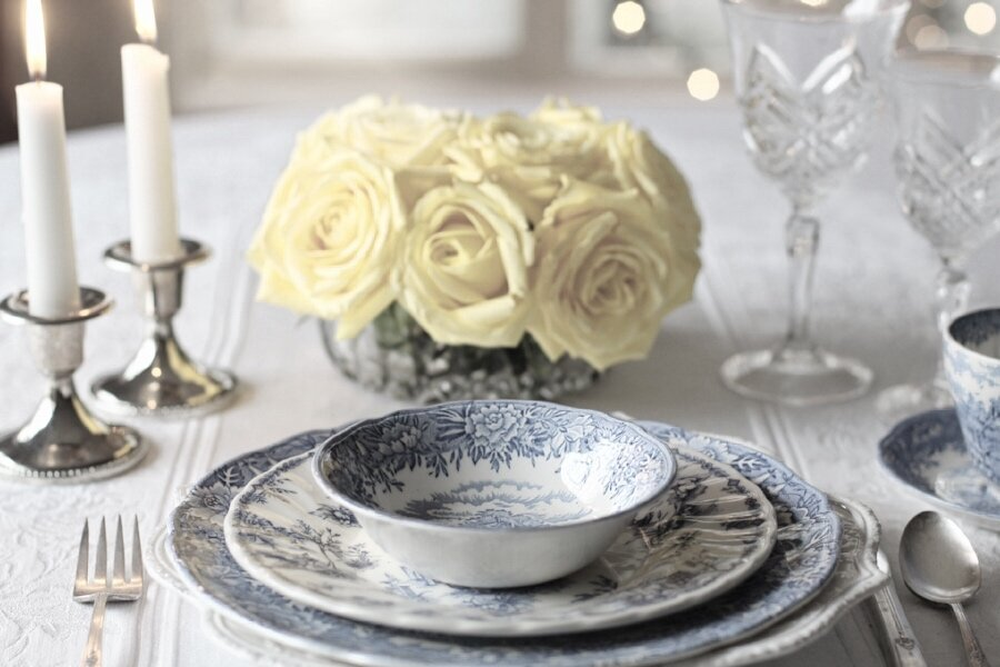 silver table setting blue plate.jpg & How to clean silver with food \u2014 Gyre and Gymble #cleanwithfood