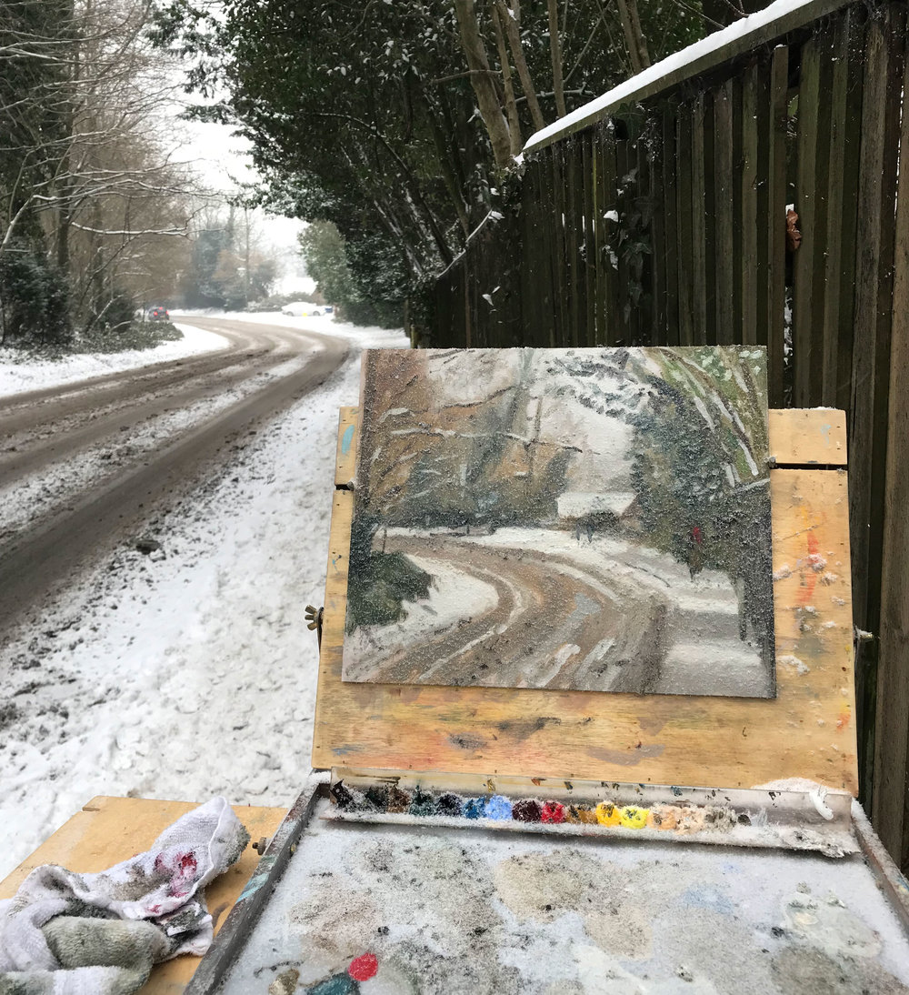Just before I packed up...you can barely see my palette or the painting for snow crystals!