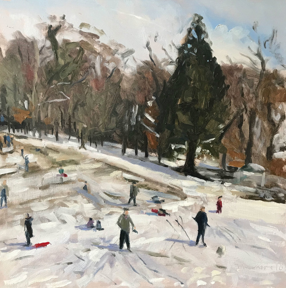 'Last call for sledging' | oil on panel | 12x12""