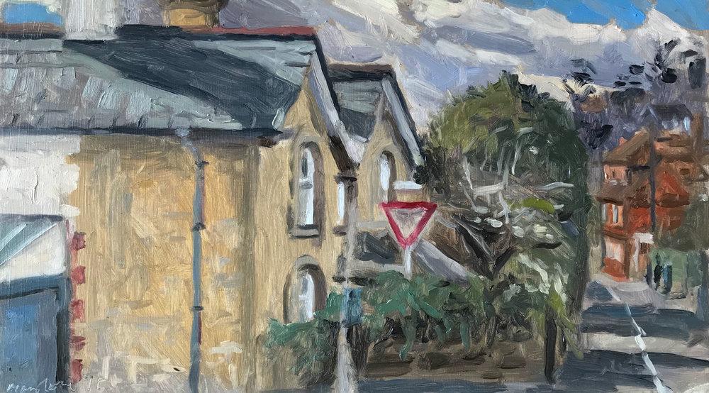 "'On the corner of Three Gates Lane' 8x14"""
