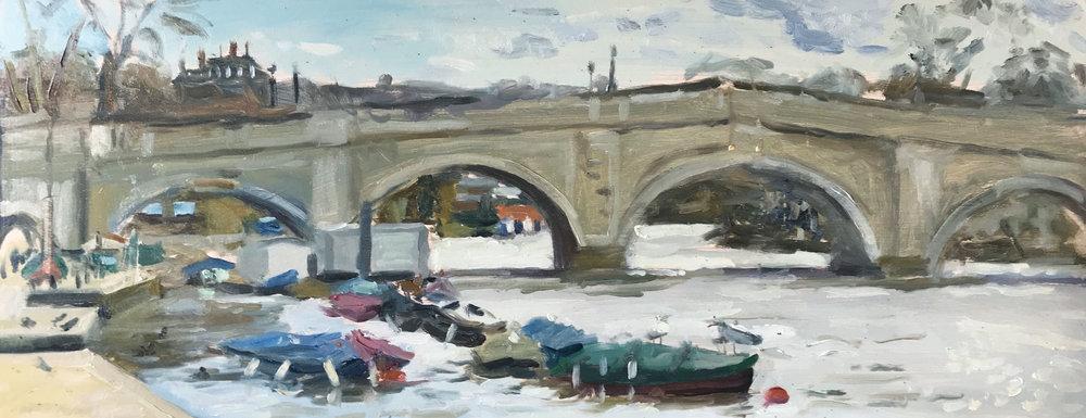 'Birds on the boats, Richmond' | oil on panel | 50x20cm