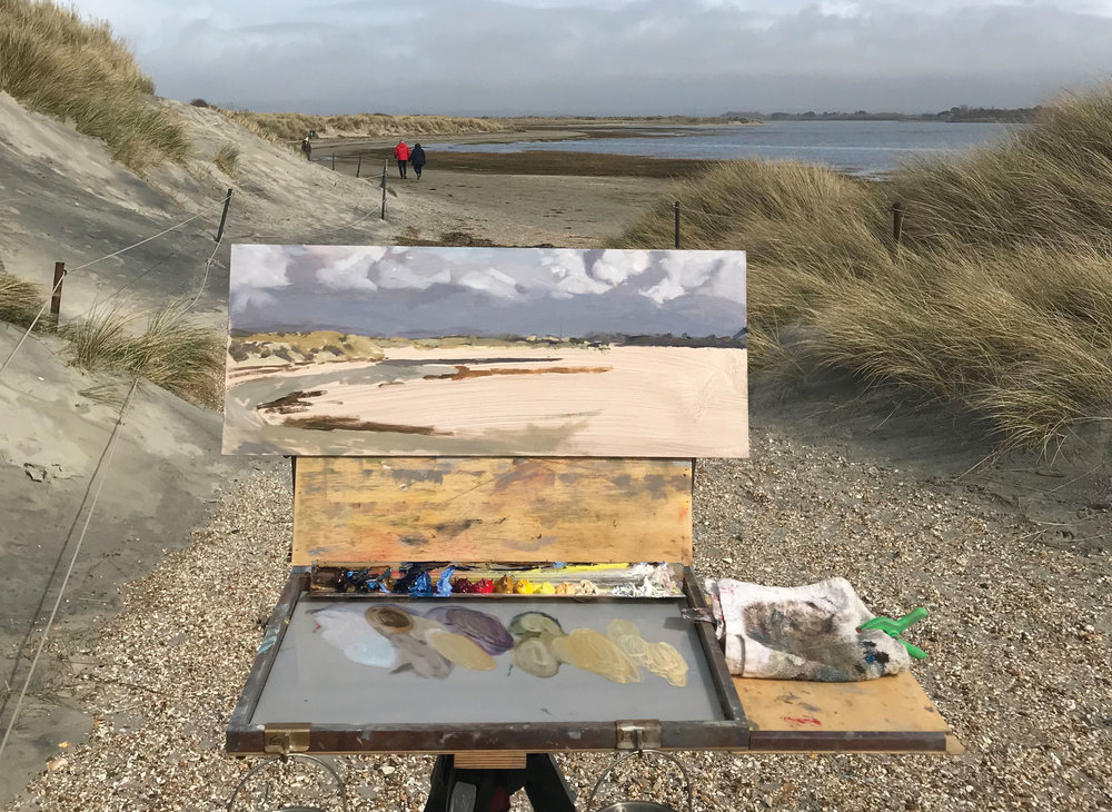 Unusually I did the sky first (I didn't know how quickly it would clear back) and then started to sketch out the bay. The tide was going out as I worked so the amount of blue disappeared quite quickly!