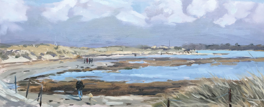'Man and his dog, East Head' | oil on panel | 50x20cm