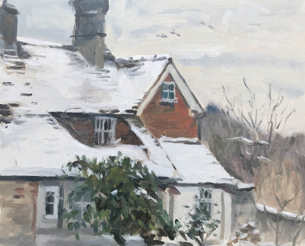 'Cherrimans in snow' | oil on panel | 9.5x12""