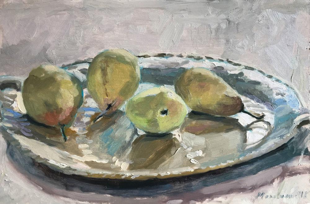"'Pears on ceramic platter' | oil on panel | 8x12"""
