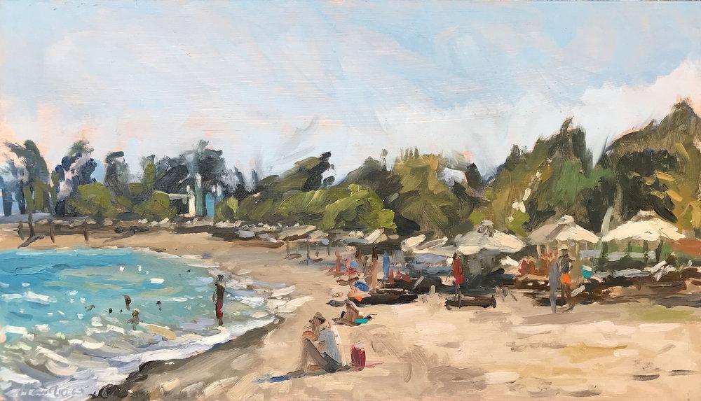 "SURF AND PARASOLS, NAFPAKTOS   2018   oil on panel   8x14""  £480 (unframed)"