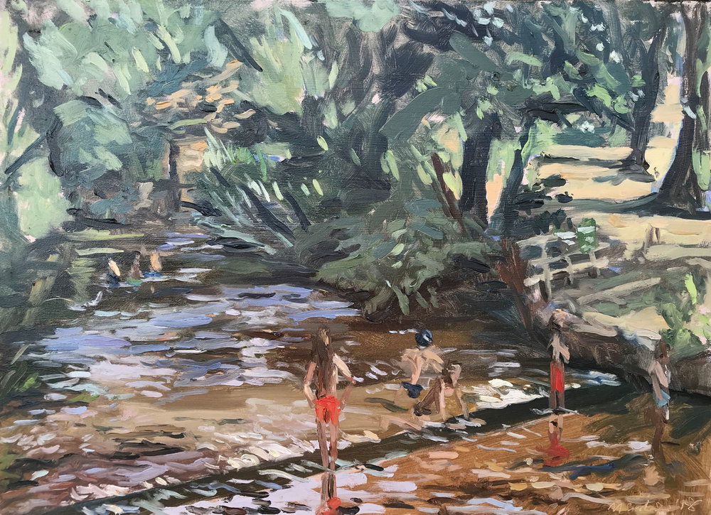 "WADING DOWN STREAM, RIVER WEY   2018 | oil on panel | 10x12""  £480 (unframed)"