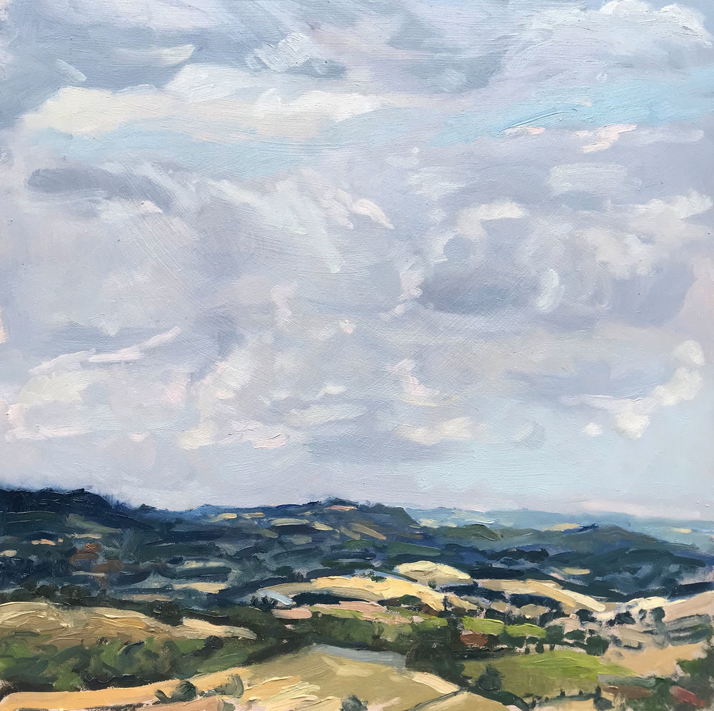 "HOT AND HUMID, HARTING DOWN   2018 | oil on panel | 12x12""  £570 (unframed)"