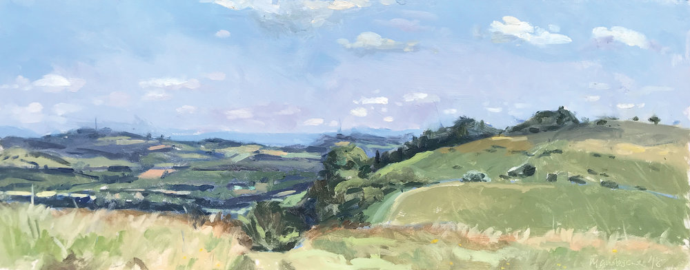 BEACON HILL FROM HARTING DOWN   2018 | oil on panel | 50x20cm  £625 (unframed)