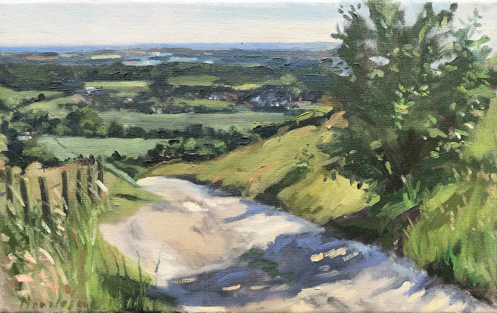 JUNE LATE AFTERNOON, THE TRUNDLE   2018 | oil on linen | 40x25cm  £825 (bespoke gilt frame by the Artistic Framing Co, Waterlooville)