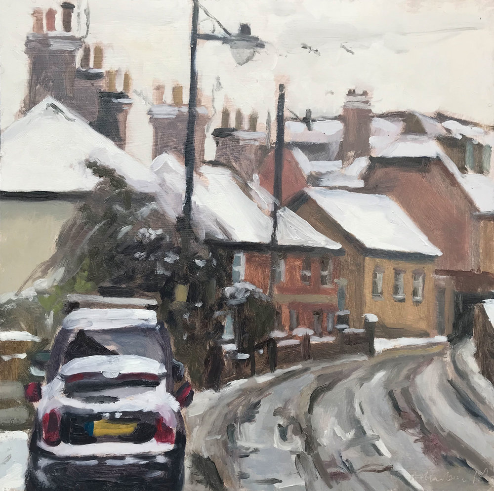 "WHITE ROOFS, HASLEMERE   2018 | oil on panel | 10x10""  £480 (unframed)"
