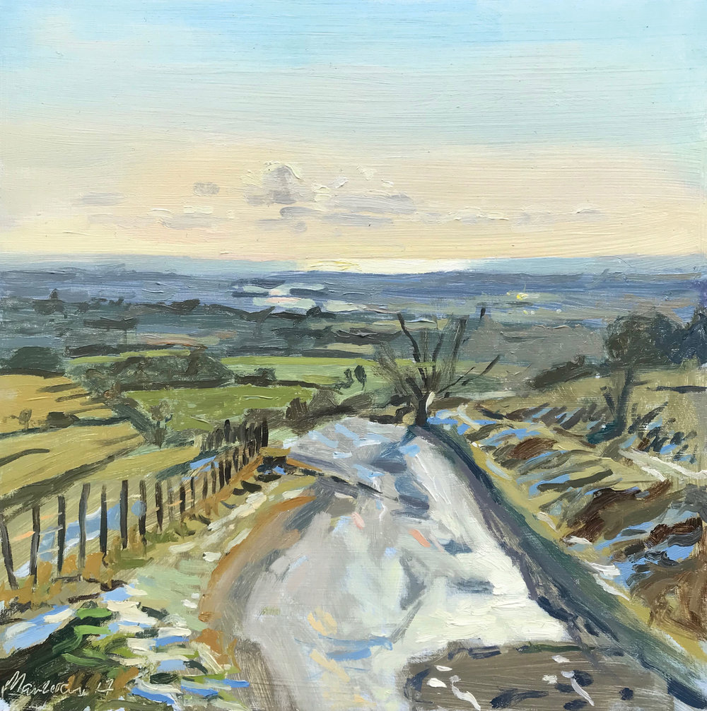 "RECEDING SNOW, THE TRUNDLE   2017 | oil on panel | 10x10""  SOLD (Exhibited at the New English Art Club Exhibition 2018, Mall Galleries)"