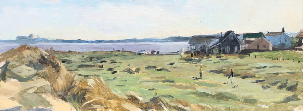 LOOKING SOUTH FROM SOUTHWOLD'S DUNES, EARLY EVENING   2018 | oil on panel | 40x15cm  £425 (unframed)