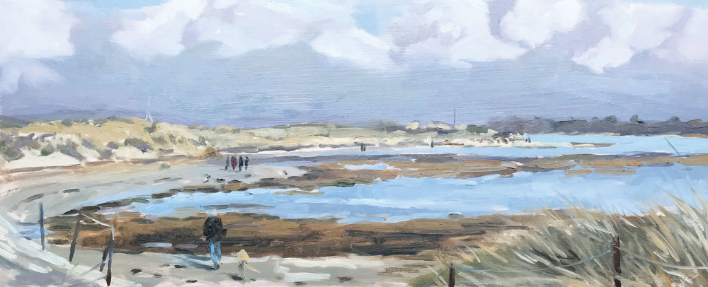 MAN AND HIS DOG, EAST HEAD   2018 | oil on panel | 50x20cm  £620 (unframed)