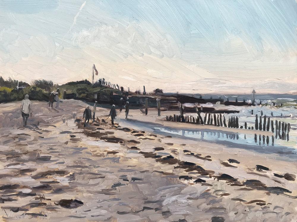 "MORNING DOG WALKERS, WEST WITTERING   2018 | oil on panel | 12x16""  £975 (bespoke frame from Artistic Framing Co)"