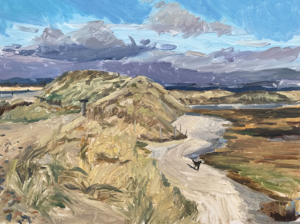"""DOG ON THE PATH, EAST HEAD   2018 