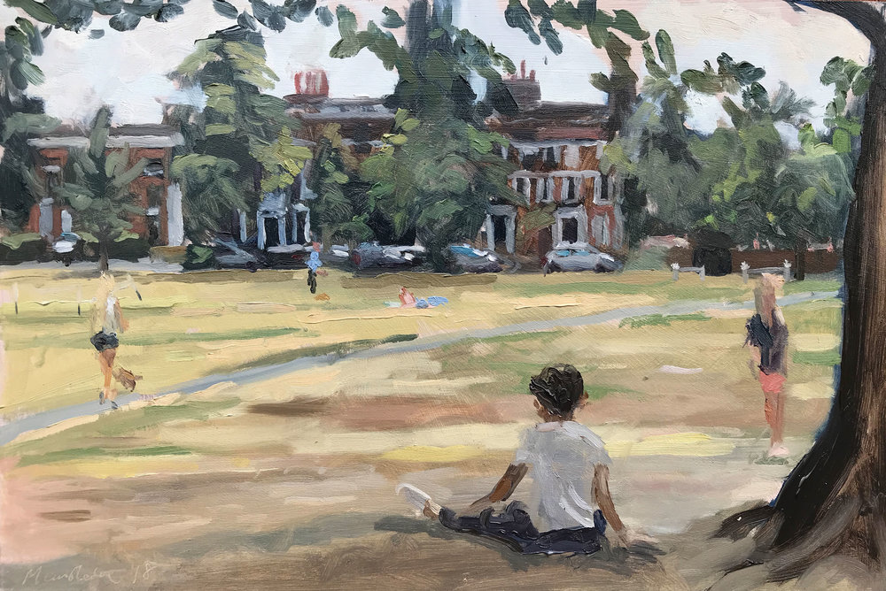 "OVERCAST AFTERNOON, RICHMOND GREEN   2018 | oil on panel | 8x12""  SOLD"