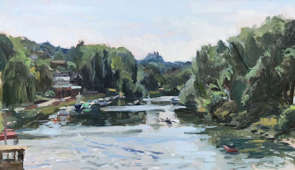 "ROWING ON THE THAMES, RICHMOND   2018 | oil on panel | 8x14""  £480 (unframed)"