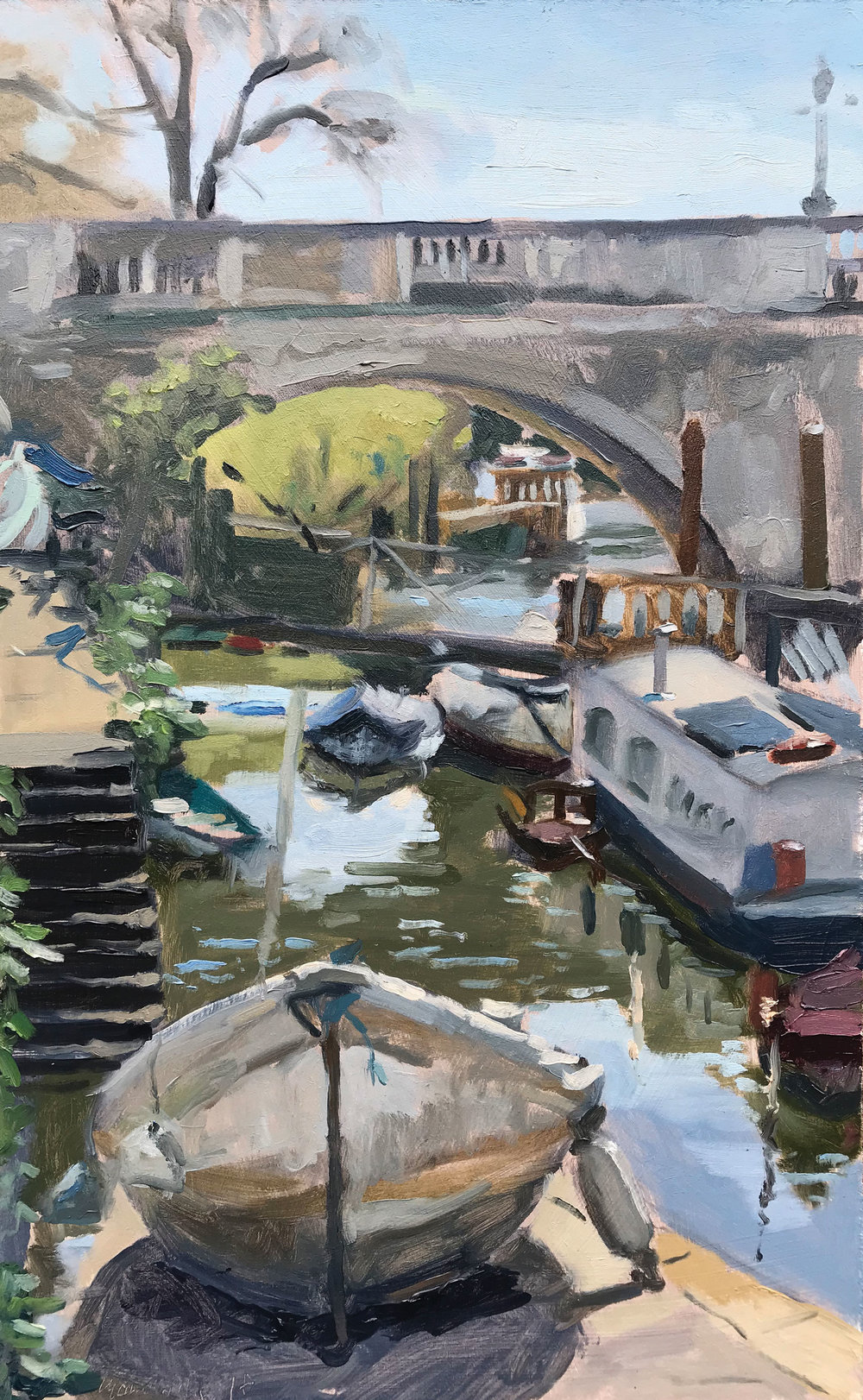"BOAT OUT OF WATER, RICHMOND BRIDGE   2018 | oil on panel | 10x16""  £525 (unframed)"