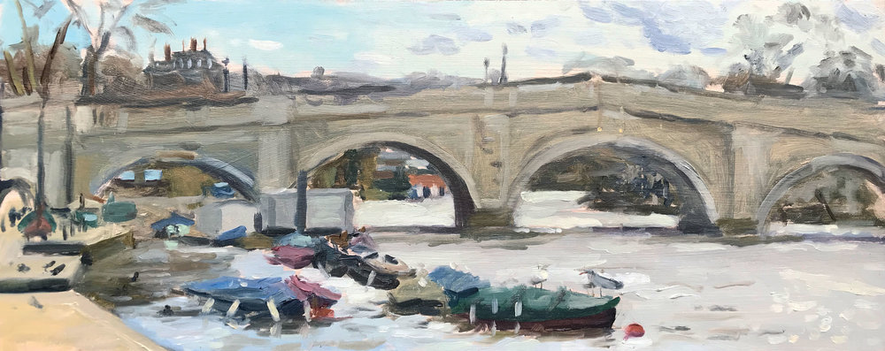 BIRDS ON THE BOATS, RICHMOND   2018 | oil on panel | 50x20cm  £795 (bespoke frame by The Artistic Framing Co)