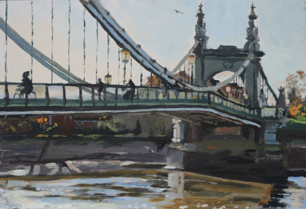 WINTER LIGHT, HAMMERSMITH BRIDGE   2017 | oil on panel | 44x30cm  £850 (unframed)