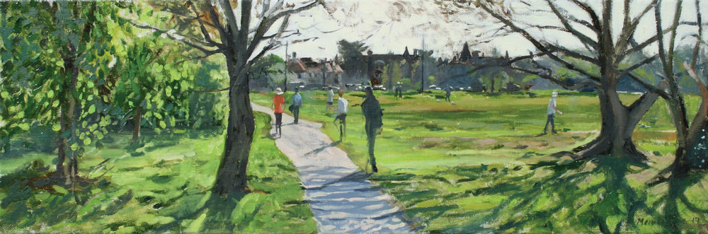 SPRING GREENS, THE CAUSEWAY   2017 | oil on linen | 60x20cm  £1600 (framed by the Frame Library)
